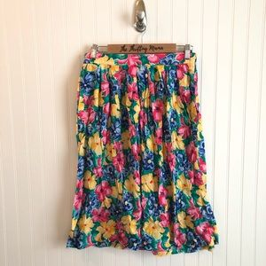 Vintage Colorful Floral Print A-Line Skirt Pockets